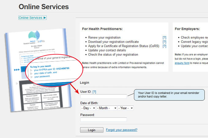 A screenshot of the online services page and a renewal letter. The renewal letter has the section highlighted where you will find your user ID.